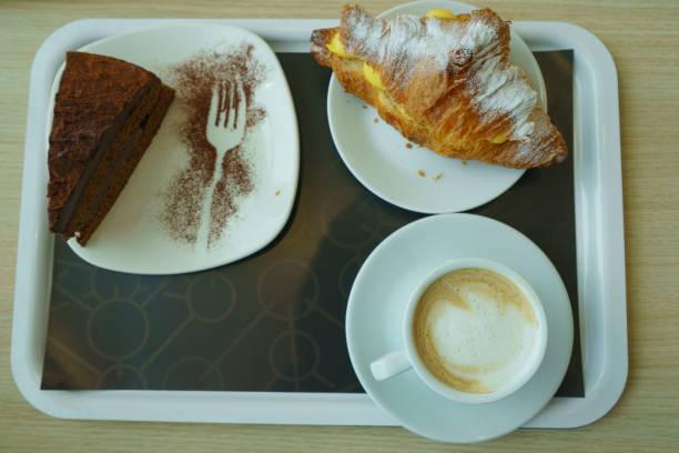 Sweet breakfast at the aeroport stock photo