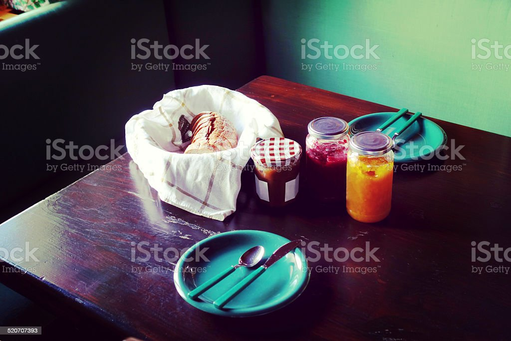 Sweet breakfast for two in a swiss cottage stock photo