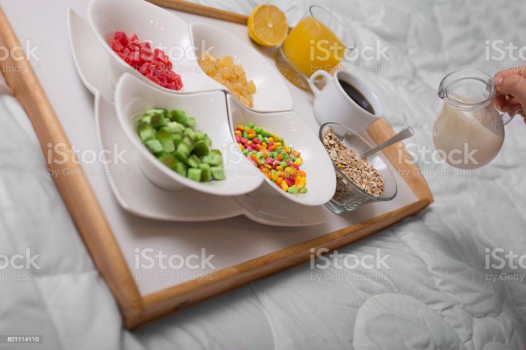 Sweet breakfast in bed set on tray