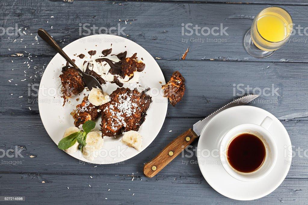 Sweet breakfast leftovers overhead stock photo