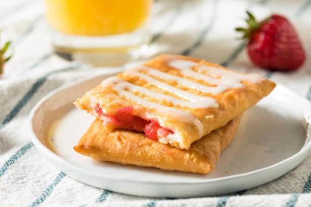 Sweet Breakfast Strawberry Toaster Pastry stock photo