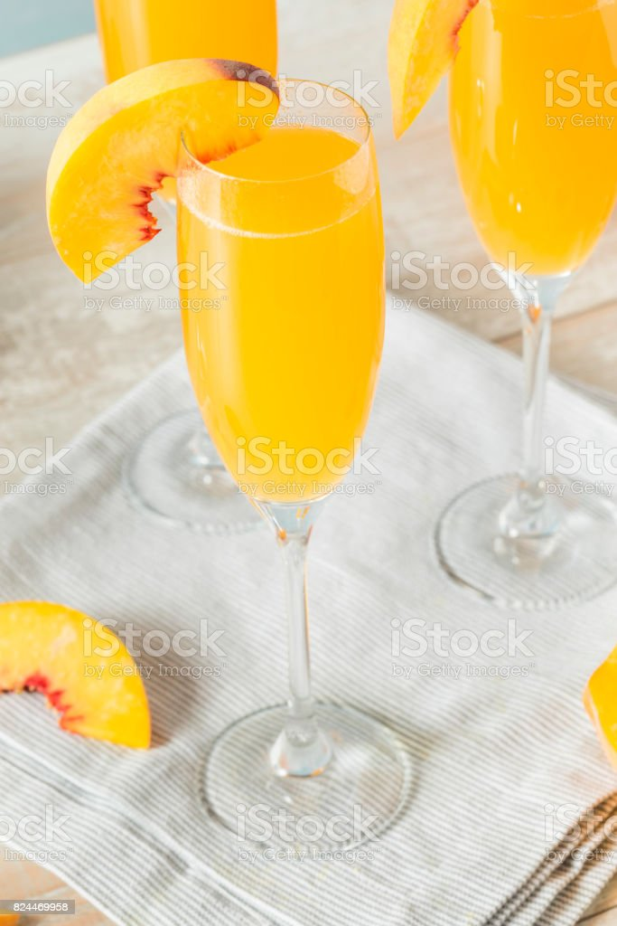 Sweet Bubbly Peach Bellini Mimosa stock photo