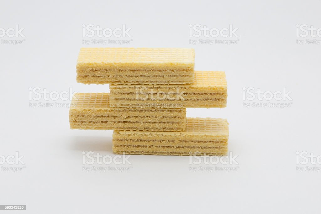 Sweet butter cream waffle stacks on white Lizenzfreies stock-foto