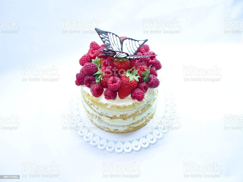 zoete taart, framboos, aardbei - Royalty-free Aardbei Stockfoto