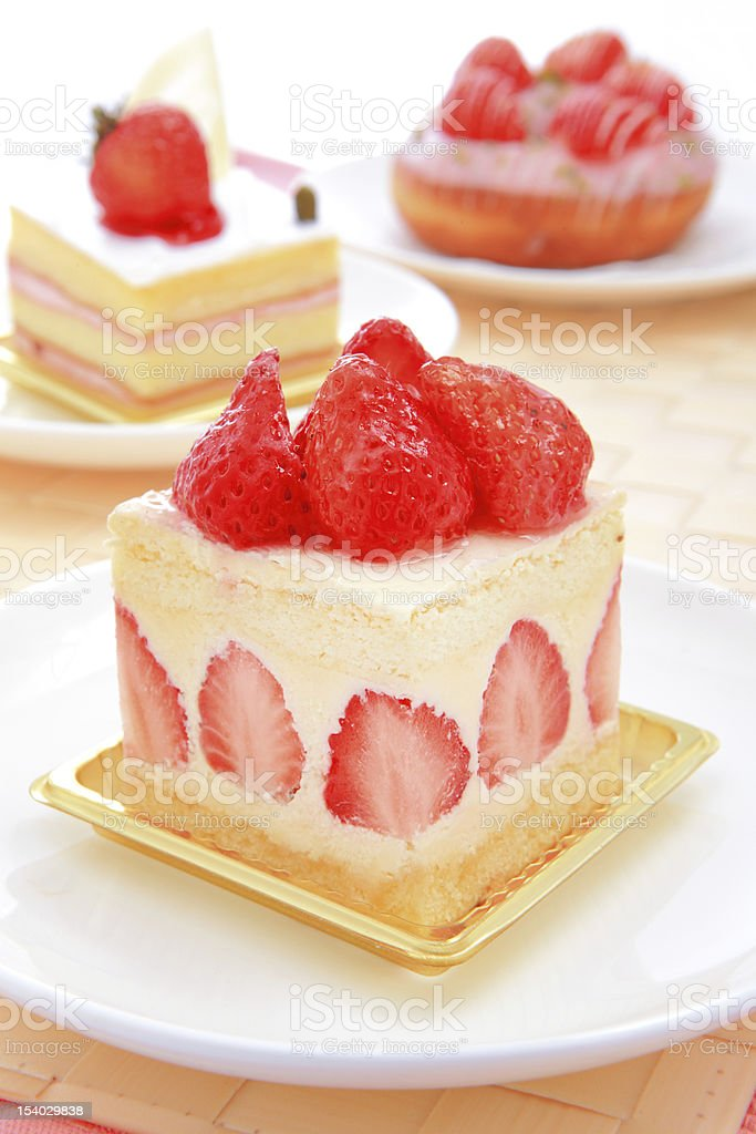 sweet cake with strawberry at tea time royalty-free stock photo