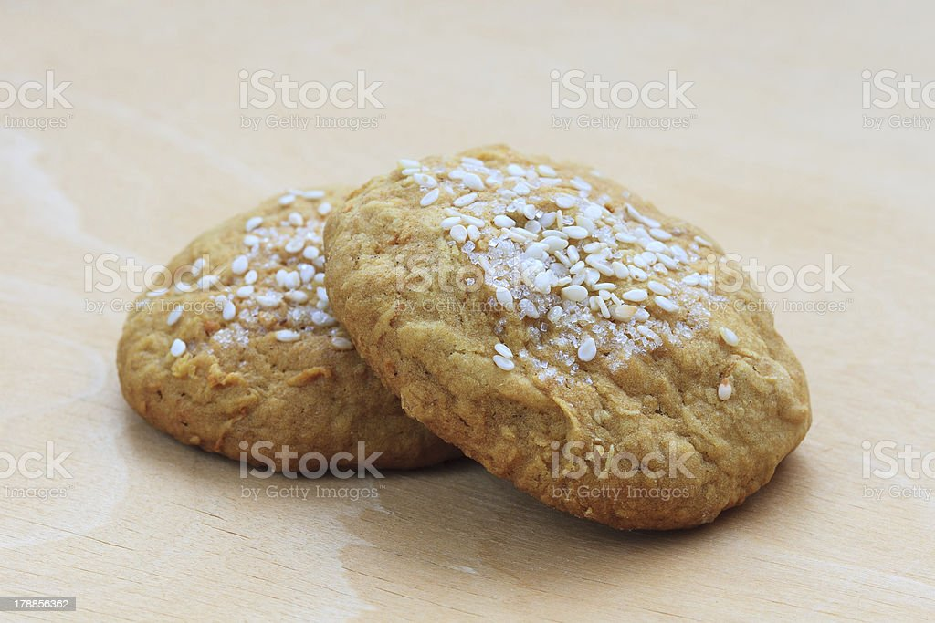 sweet cakes with sesame seeds and sugar royalty-free stock photo