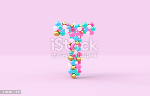 istock Sweet candy balls letter T. 3D render glossy font on isolated background. 1153407985