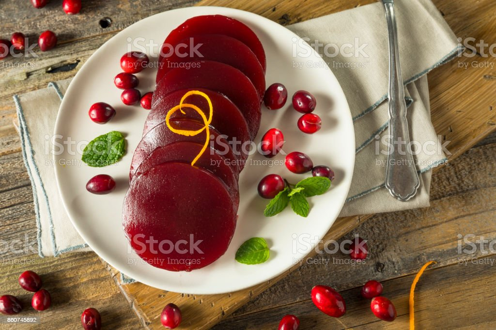 Sweet Canned Cranberry Sauce stock photo