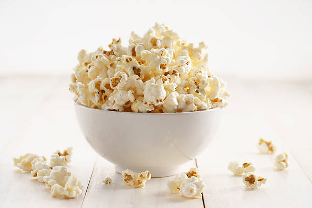 Sweet caramel popcorn in a bowl stock photo