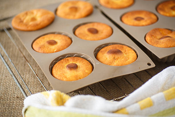 sweet cheese muffins in silicone forms stock photo