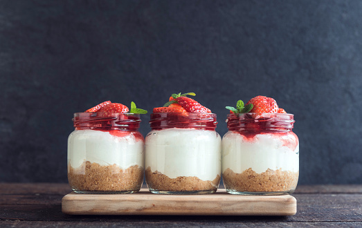 Sweet cheesecake with strawberries