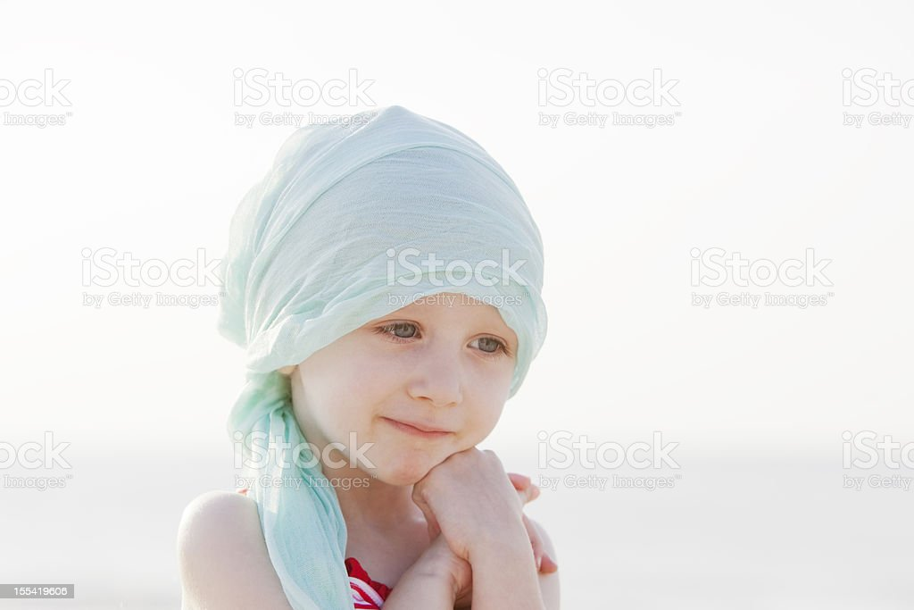 Sweet Chemo Girl At The Beach royalty-free stock photo