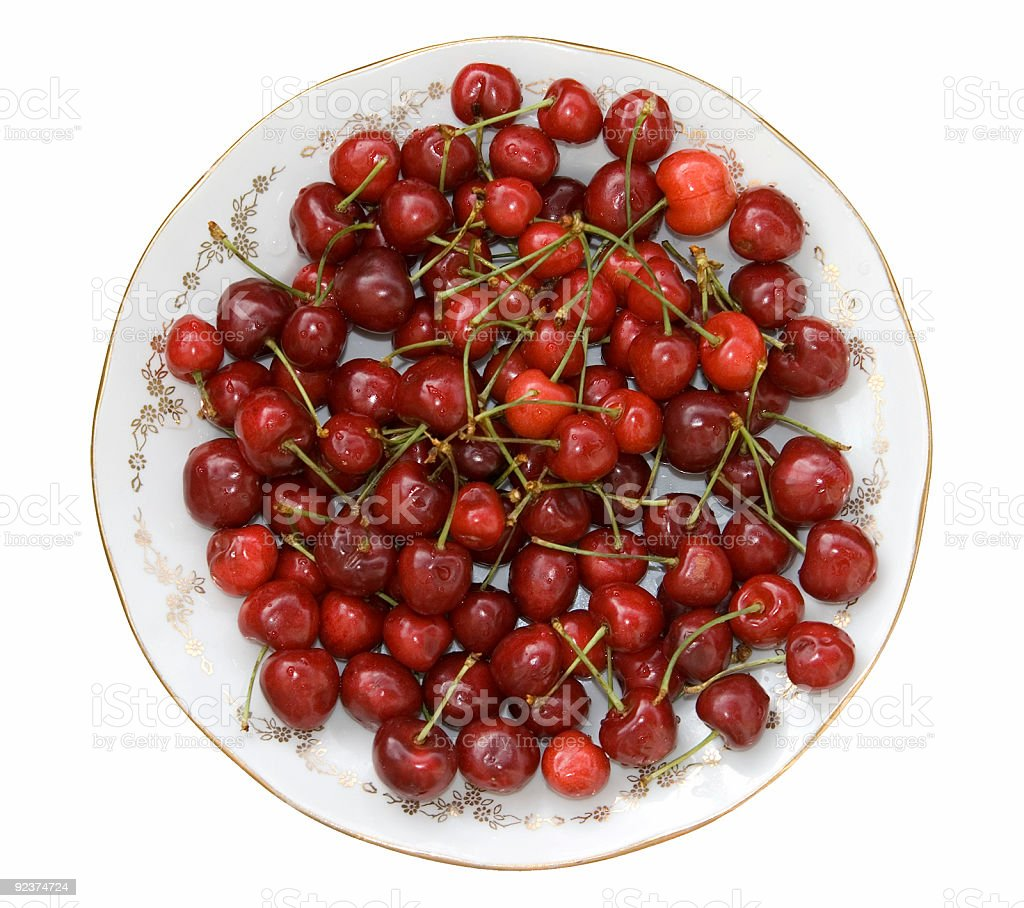 Sweet cherries isolated royalty-free stock photo