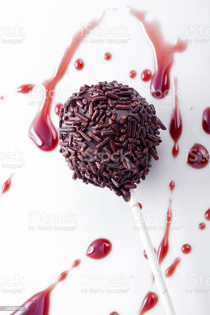 sweet  cherry flavored cakepop stock photo