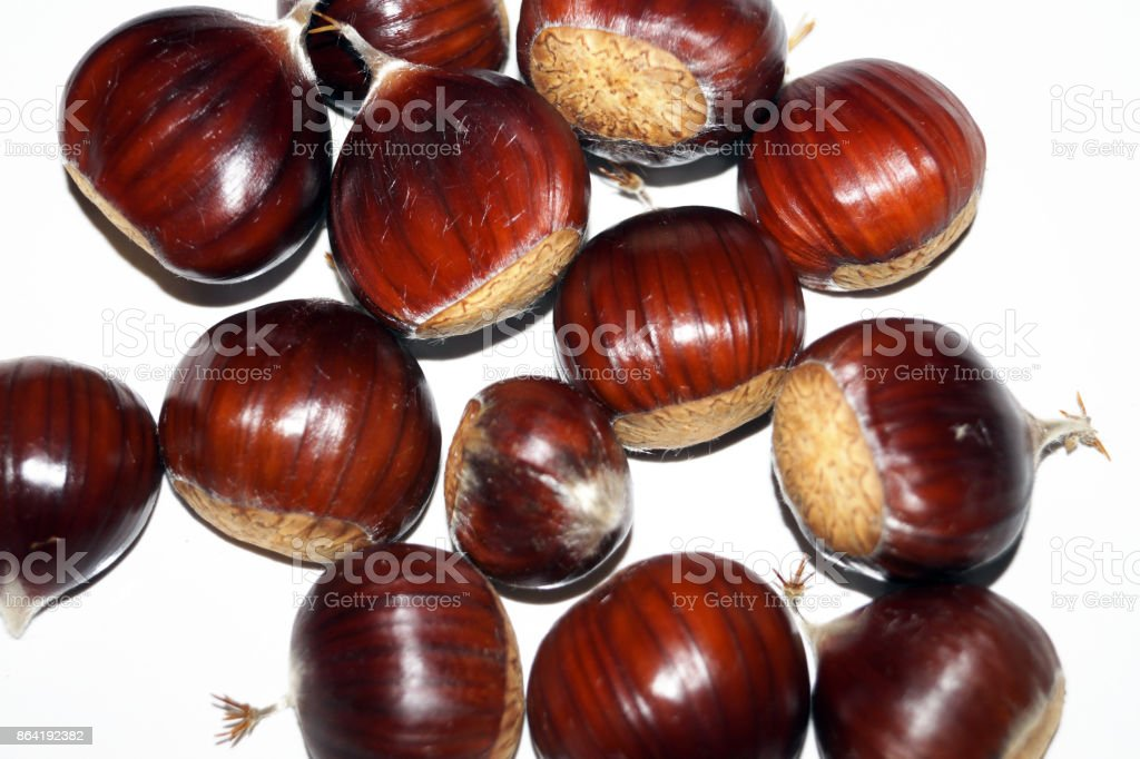 Sweet chestnuts isolated on a white background royalty-free stock photo