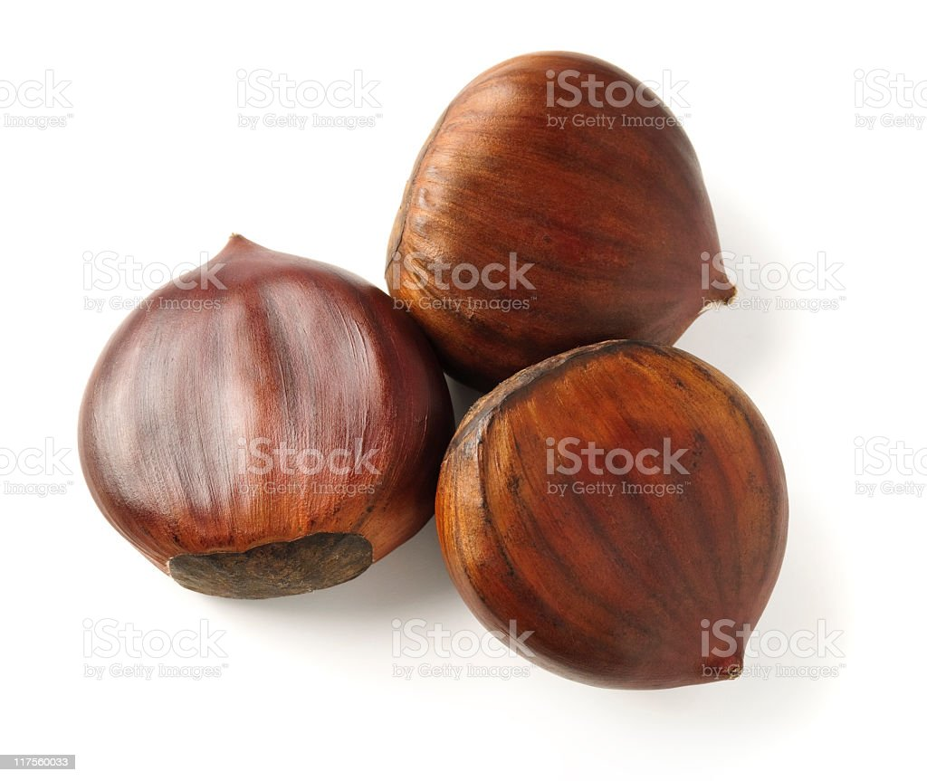 Sweet chestnuts on white royalty-free stock photo