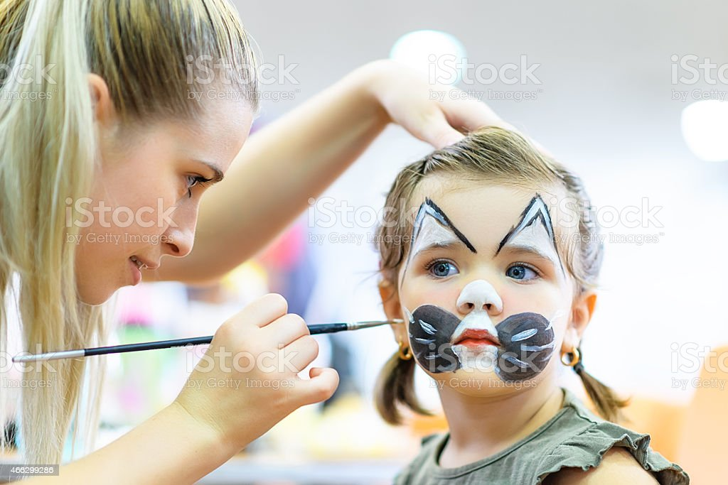sweet child with makeup stock photo