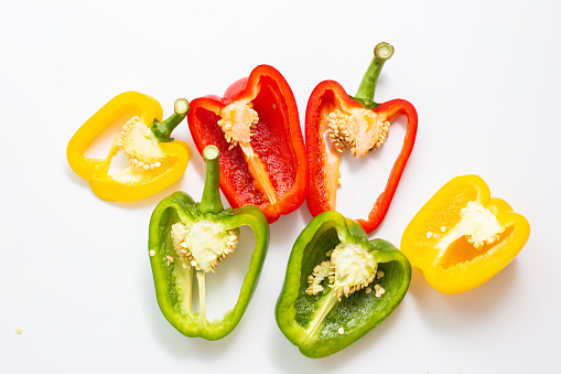 Sweet chilli pepper close up on white background colorful vegetable