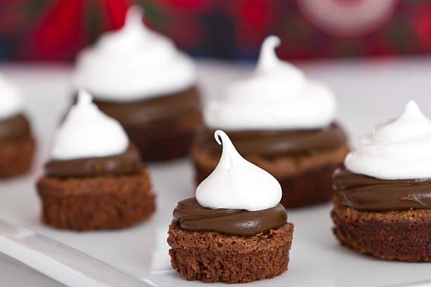 Sweet chocolate and meringue dessert stock photo