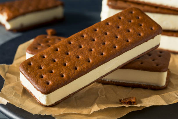 Sweet Chocolate and Vanilla Ice Cream Sandwich Sweet Chocolate and Vanilla Ice Cream Sandwich Dessert ice cream bar stock pictures, royalty-free photos & images