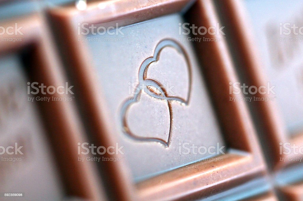 sweet chocolate pieces with love theme stock photo