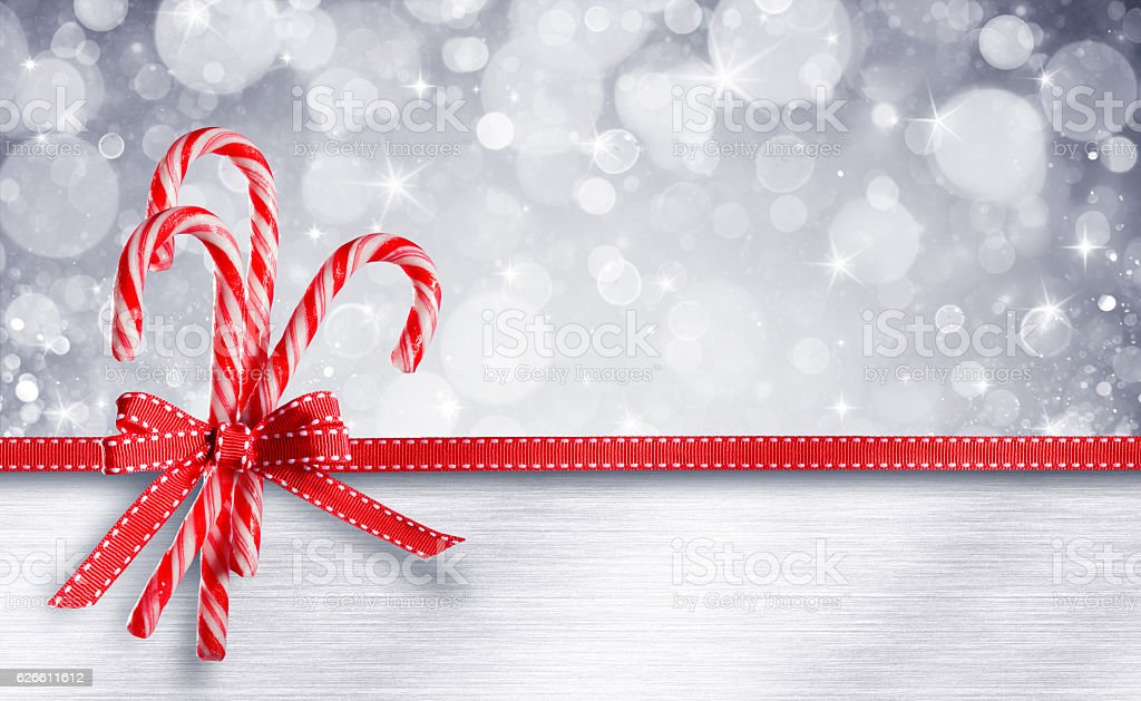 Sweet Christmas Card - Candy Canes With Ribbon stock photo