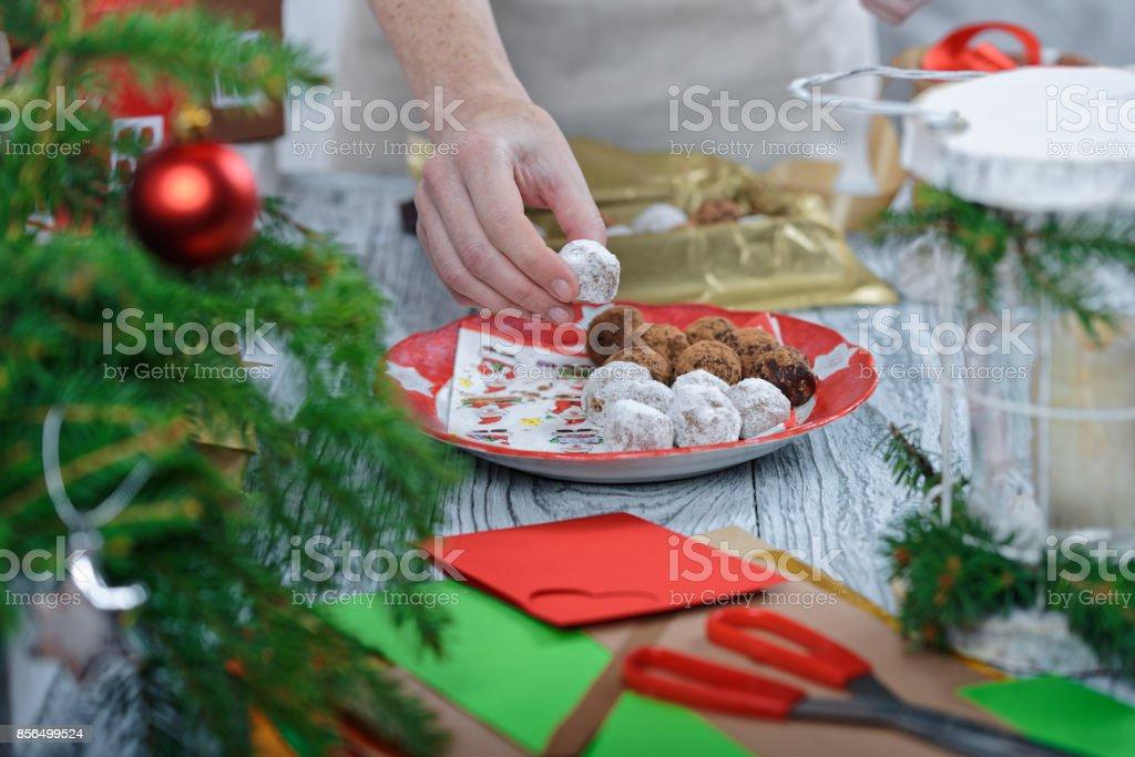 Sweet Christmas gift packing stock photo