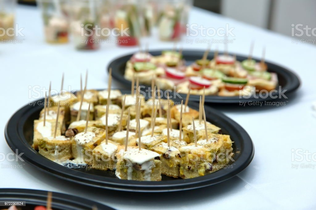 Sweet cisto stuffed on a toothpick so on one bite that it was convenient and fast without cutlery to eat. stock photo