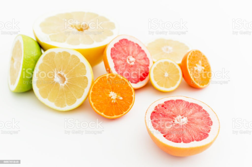 Sweet citrus fruits on white background. Flat lay, top view. foto stock royalty-free