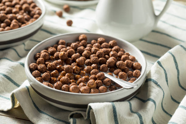 Sweet Cocoa Chocolate Sugar Cereal Puffs stock photo
