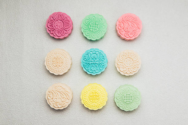 Sweet color of snow skin mooncake. stock photo