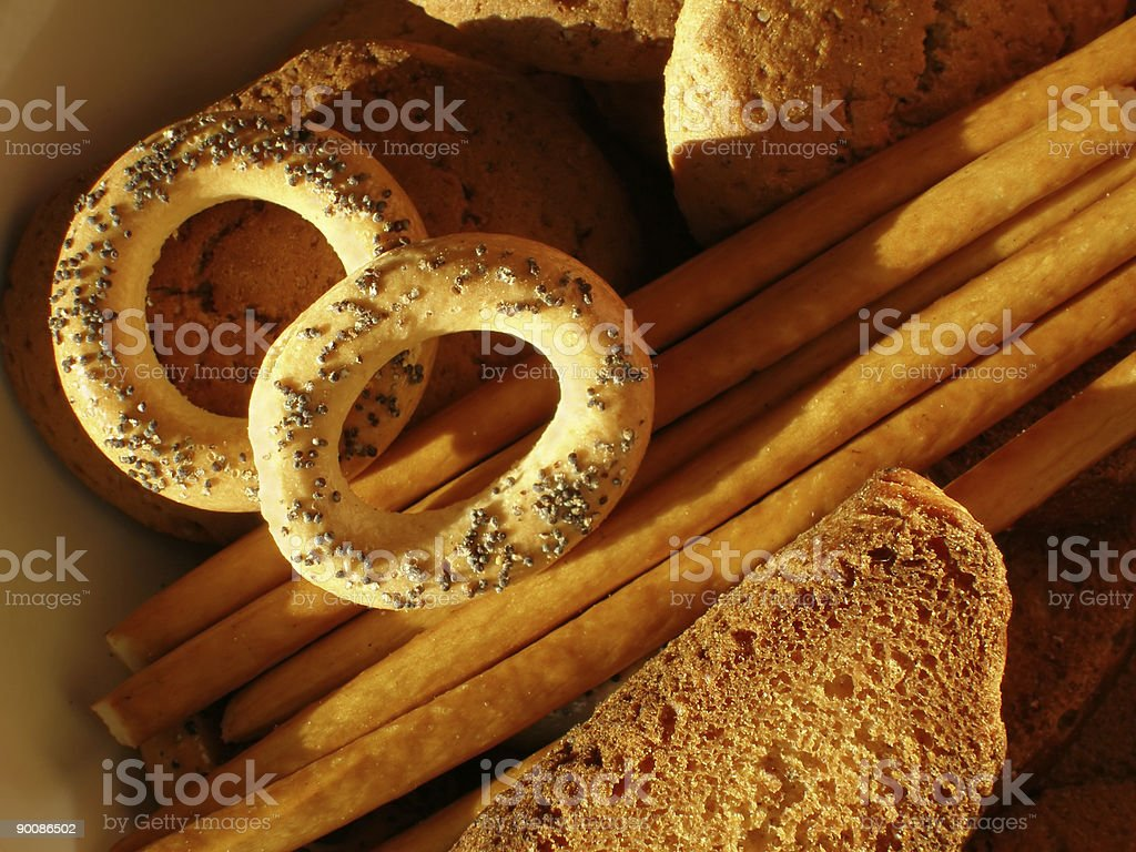 Sweet cookies, sticks and crackers stock photo