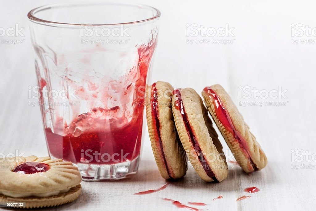 Sweet cookies with jam stock photo