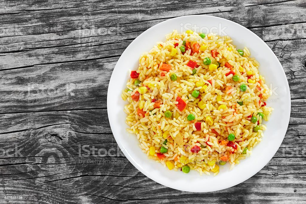 Sweet Corn, red bell pepper, green peas delicious  healthy Risot stock photo