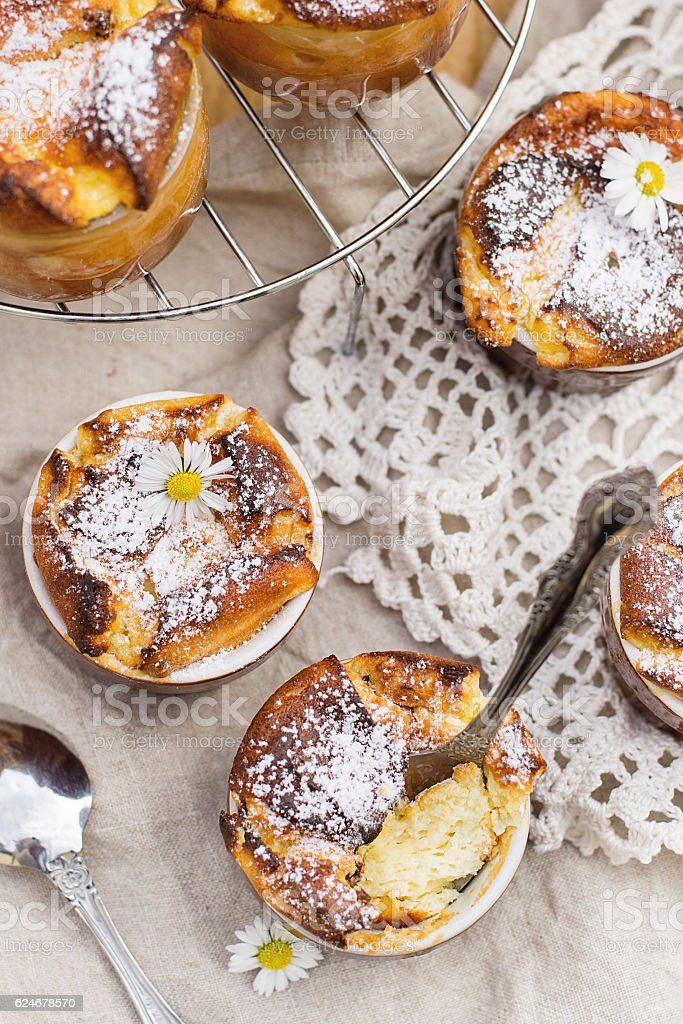Sweet cottage cheese souffle with raisins for dessert stock photo
