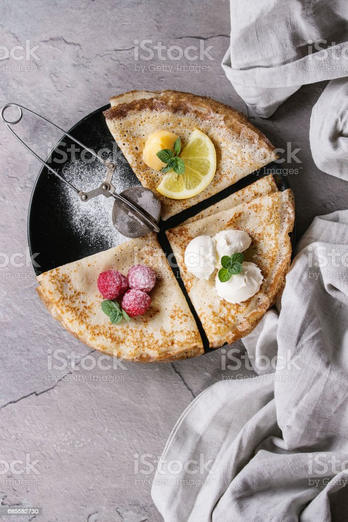 Sweet crepes pancakes with different fillings 免版稅 stock photo