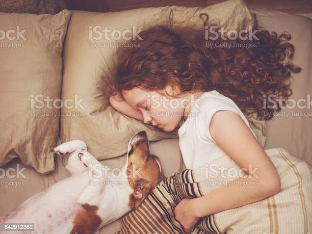 Sweet curly girl and jack russell dog is sleeping in night picture id842912362?b=1&k=6&m=842912362&s=612x612&h=mx9de5 zvuqrknvydhelnttunltfs7smplijc vl7zs=