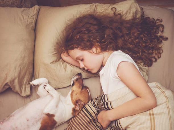 Süßes Mädchen lockiges und Jack Russell Hund schläft in der Nacht. – Foto