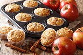 istock Sweet dessert apple muffins with cinnamon close-up in a baking dish. horizontal 1168928762