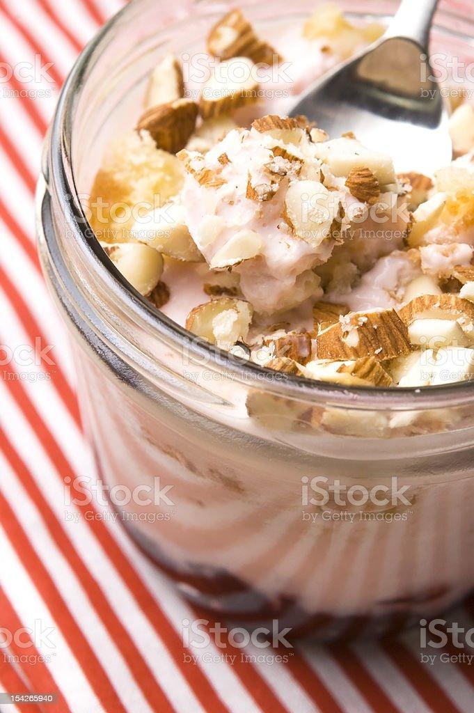 Sweet dessert in glass jar - strawberry cake royalty-free stock photo
