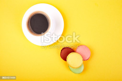 Sweet Dessert Macaron Or Macaroon With Coffee Stock Photo & More Pictures of Above