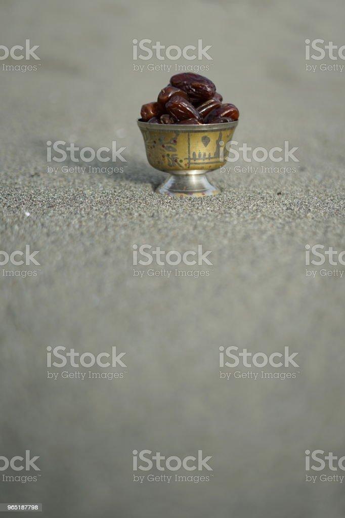 Sweet dried date palm fruits or kurma ramadan (ramazan) food zbiór zdjęć royalty-free
