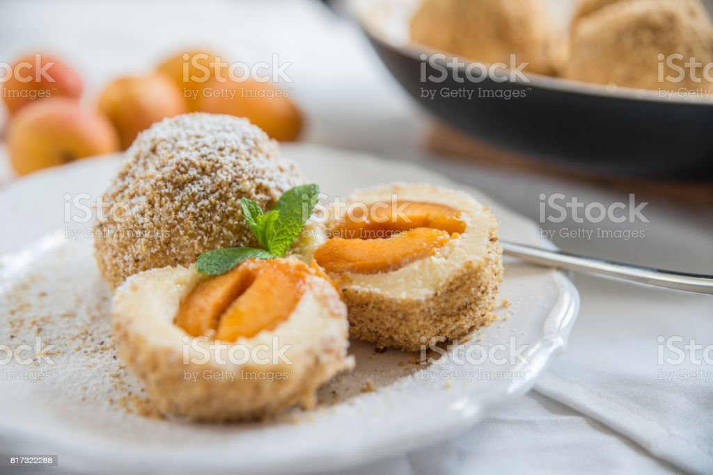 Sweet dumplings filled with apricot stock photo