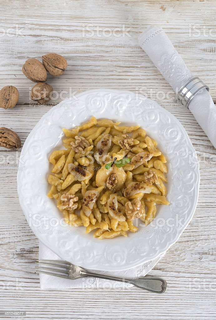 sweet dumplings with pear and brown sugar stock photo