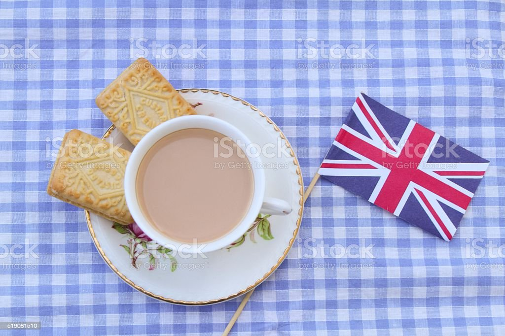 Sweet English tea and biscuits stock photo