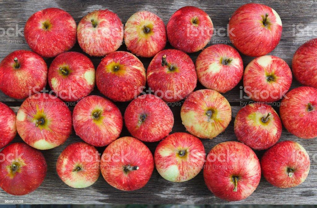 Sweet fresh ripe red apple harvest background royalty-free stock photo