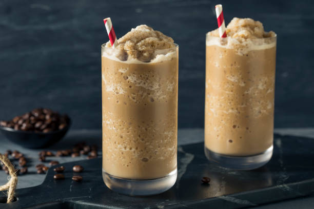 Sweet Frozen Iced Coffee Slushie stock photo