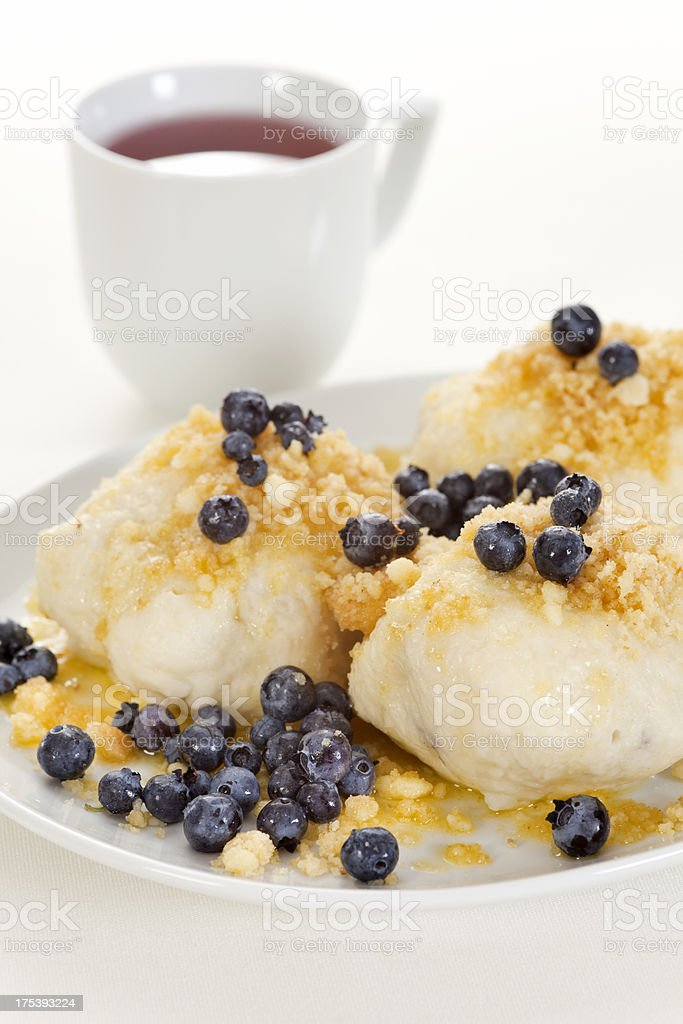 Sweet fruit dumplings with blueberries royalty-free stock photo