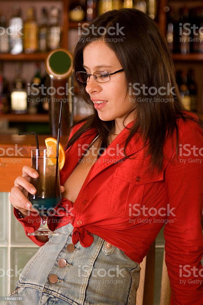 Sweet girl in Pub royalty-free stock photo