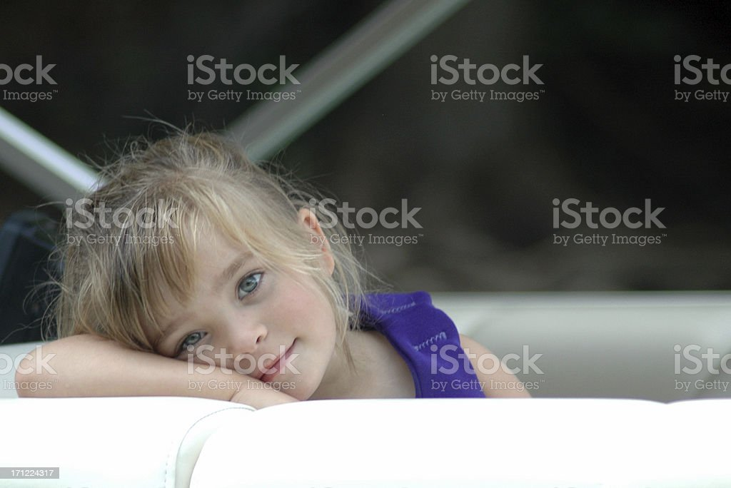 Sweet Girl on a Pontoon royalty-free stock photo